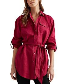 Lightweight Belted Linen Shirt
