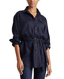 Lightweight Belted Linen Shirt