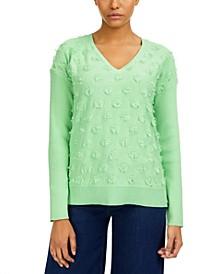 Cotton Fringe-Dot Sweater