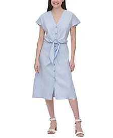 Tie-Waist Linen Dress