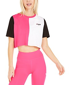 Prudence Cotton Colorblocked Cropped T-Shirt