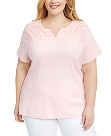 Plus Size Crochet-Yoke Top, Created for Macy's