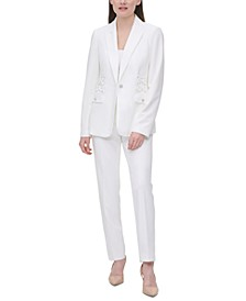 Crisscross-Trim Single-Button Blazer