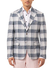 Orange Men's Slim-Fit Navy & Cream Plaid Linen Sport Coat