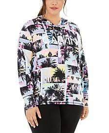 Plus Size Tropical-Print Logo Hoodie