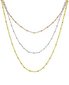 """Fine Silver Plated Beaded 18"""" Layered Necklace"""