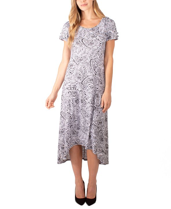 NY Collection Petite Split-Sleeve High-Low Dress