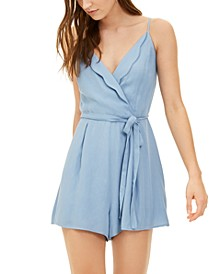 Juniors' Scallop Wrap-Front Romper