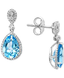 EFFY® Blue Topaz (4-1/2 ct. t.w.) & Diamond (1/3 ct. t.w.) Drop Earrings in 14k White Gold