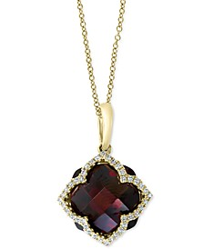 "EFFY® Rhodolite Garnet (8-1/10 ct. t.w.) & Diamond (1/5 ct. t.w.) 18"" Pendant Necklace in 14k Gold"