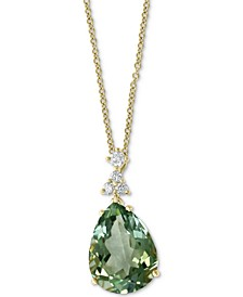 "EFFY® Green Quartz (9-5/8 ct. t.w.) & Diamond (1/5 ct. t.w.) 18"" Pendant Necklace in 14k Gold"