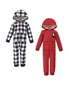 Baby Toddler Girls and Boys Christmas Dog Fleece Coveralls and Playsuits Jumpsuits, Pack of 2
