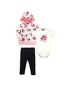 Baby Girls and Boys Rose Hoodie, Bodysuit or Tee Top and Pant Set, Pack of 3