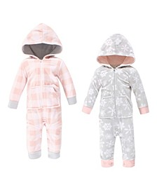 Baby Girls and Boys Snowflake Fleece Jumpsuits, Coveralls and Playsuits, Pack of 2