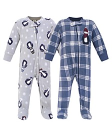 Baby Girls and Boys Penguin Fleece Sleep and Play