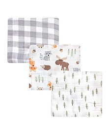 Baby Girls and Boys Woodland Muslin Swaddle Blankets