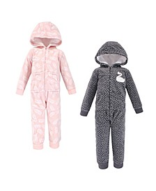 Baby Toddler Girls and Boys Swan Fleece Jumpsuits, Coveralls and Playsuits, Pack of 2