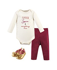 Baby Girls and Boys Pumpkin Spice Bodysuit, Pant and Shoe Set, Pack of 3