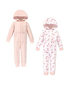 Toddler Girls Unicorn Fleece Coveralls and Playsuits Jumpsuits, Pack of 2