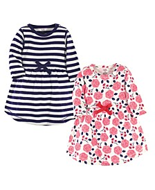 Baby Girls Rose Long-Sleeve Dresses, Pack of 2