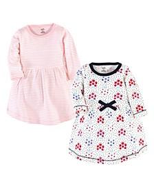 Toddler Girls Floral Dot Long-Sleeve Dresses, Pack of 2