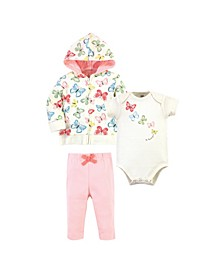 Baby Girls and Boys Butterflies Hoodie, Bodysuit or Tee Top and Pant, Pack of 3
