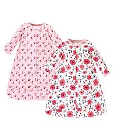 Baby Girls Coral Garden Long-Sleeve Wearable Sleeping Bag Sack, Pack of 2