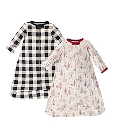 Baby Girls and Boys Winter Woodland Long-Sleeve Wearable Sleeping Bag Sack, Pack of 2