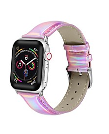 Men's and Women's Apple Pink Iridescent Leather Replacement Band 44mm