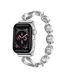 Men's and Women's Apple Silver-Tone Stainless Steel, Crystal Replacement Band 44mm