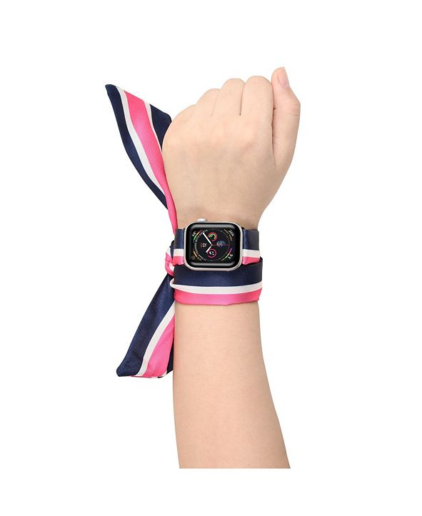 Posh Tech Men's and Women's Apple Multi Colored Scarf Silk Leather Replacement Band 44mm