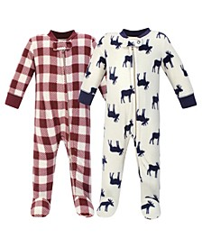 Baby Girls and Boys Moose Fleece Sleep and Play, Pack of 2