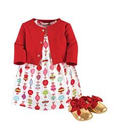 Baby Girls Glitzmas Cardigan, Dress and Shoe Set, Pack of 3