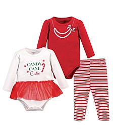 Baby Girls Candy Cane Cutie Bodysuit and Pant Set, Pack of 3
