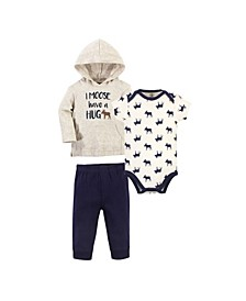 Baby Boys Moose Hug Hoodie, Bodysuit or Tee Top and Pant Set, Pack of 3