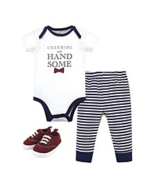 Baby Boys Charming Handsome Bodysuit, Pant and Shoe Set, Pack of 3