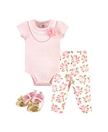 Baby Girls Floral Bodysuit, Pant and Shoe Set, Pack of 3
