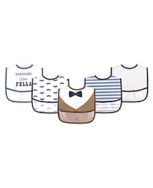 Baby Girls and Boys Handsome Fella Bibs, Pack of 5