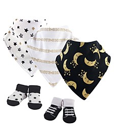 Baby Girls and Boys Metallic Moon Yoga Sprout Bandana Bibs and Socks, Pack of 5