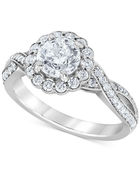 Macy's Diamond Flower Halo Engagement Ring (1-1/2 ct. t.w.) in 14k White Gold