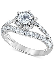 Diamond Starburst Halo Engagement Ring (1-1/4 ct. t.w.) in 14k White Gold