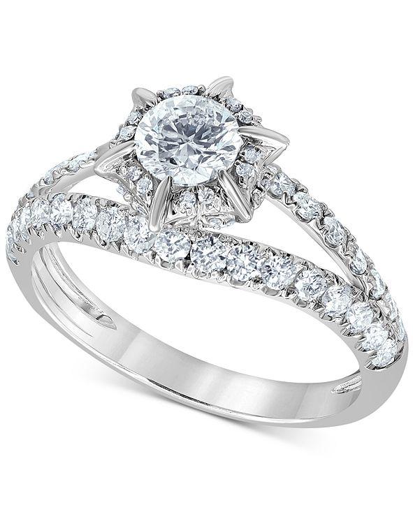 Macy's Diamond Starburst Halo Engagement Ring (1-1/4 ct. t.w.) in 14k White Gold