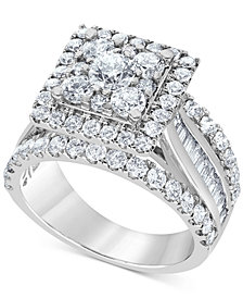 Diamond Square Halo Multi-Row Engagement Ring (3 ct. t.w.) in 14k White Gold
