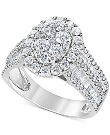Diamond Oval Cluster Engagement Ring (2 ct. t.w.) in 14k White Gold