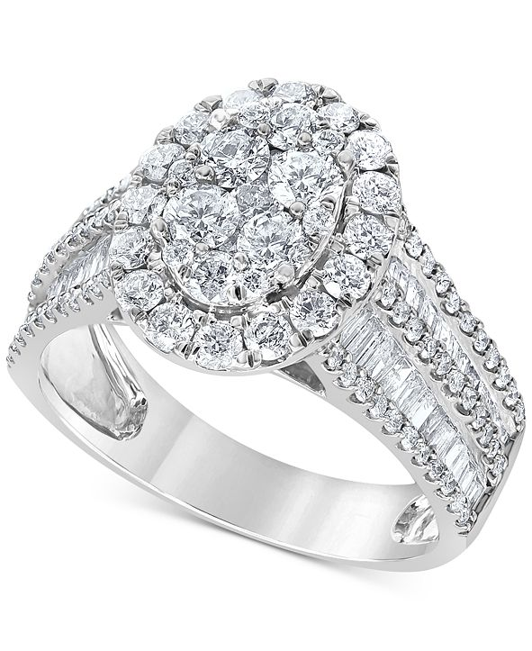 Macy's Diamond Oval Cluster Engagement Ring (2 ct. t.w.) in 14k White Gold
