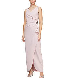 Draped Embellished Compression Column Gown