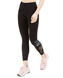 Outline-Logo High-Waist Cropped Leggings
