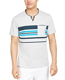 INC Men's Split-Neck Stripe T-Shirt, Created for Macy's