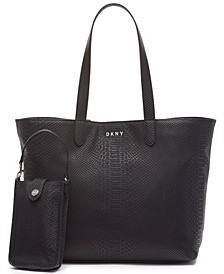 Ashlee Snake-Embossed Tote with Removable Pouch