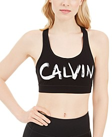 Brushed-Logo Racerback Medium-Impact Sports Bra